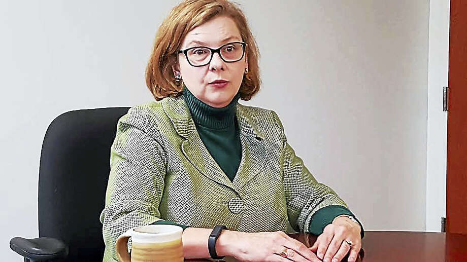State Education Commissioner Dianna Wentzell speaks with the New Haven Register editorial board. Photo: Shahid Abdul-Karim — New Haven Register