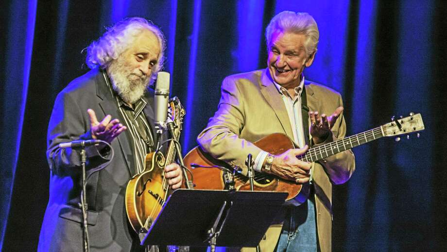 David Grisman, left, and Del McCoury will play College Street Music Hall on Thursday in a rescheduled concert from Nov. 21. Photo: Photo Courtesy Of Bridget Pleines — Groove On Music