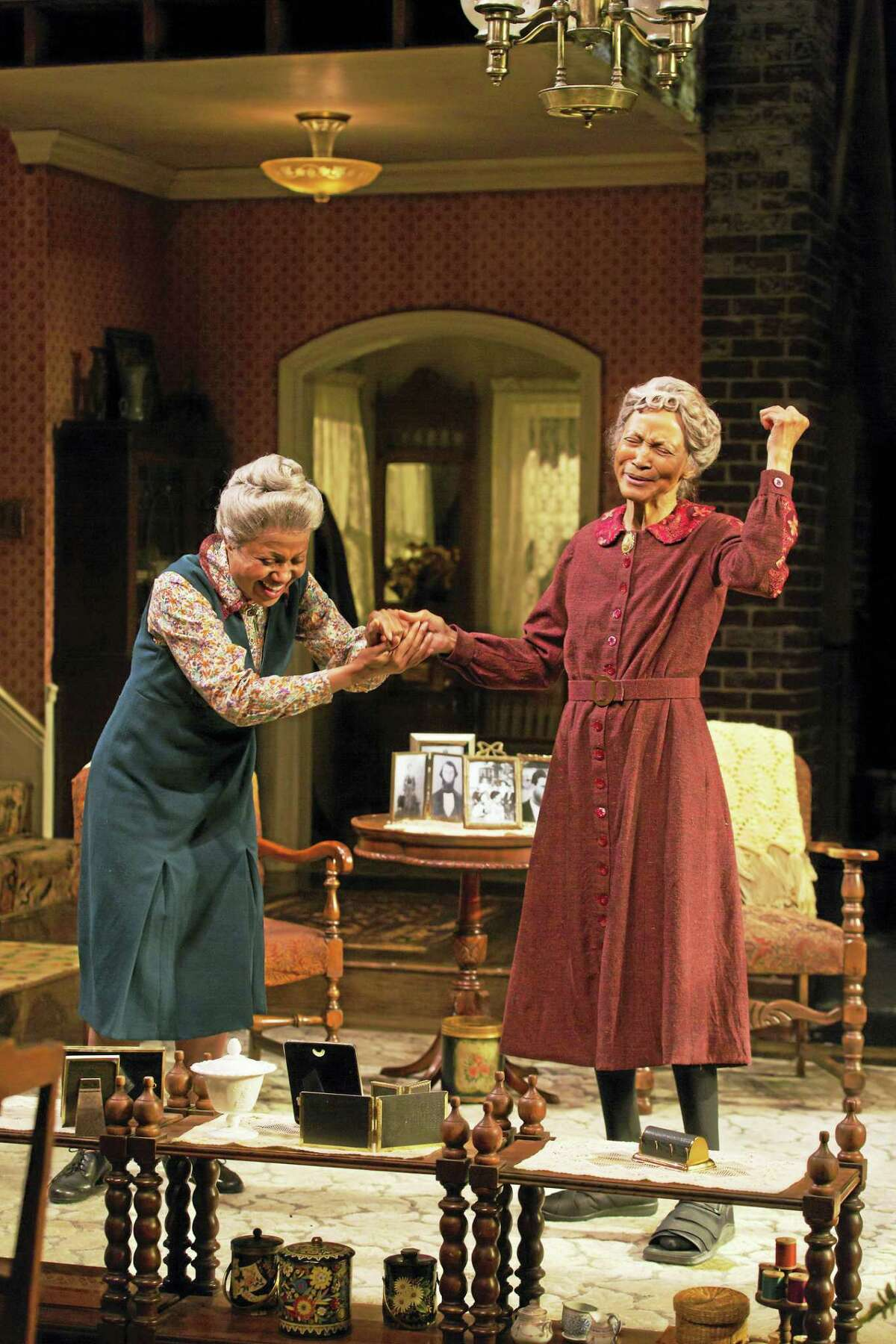"""Brenda Pressley, left, and Olivia Cole in a scene from """"Having Our Say"""" at Long Wharf Theatre."""
