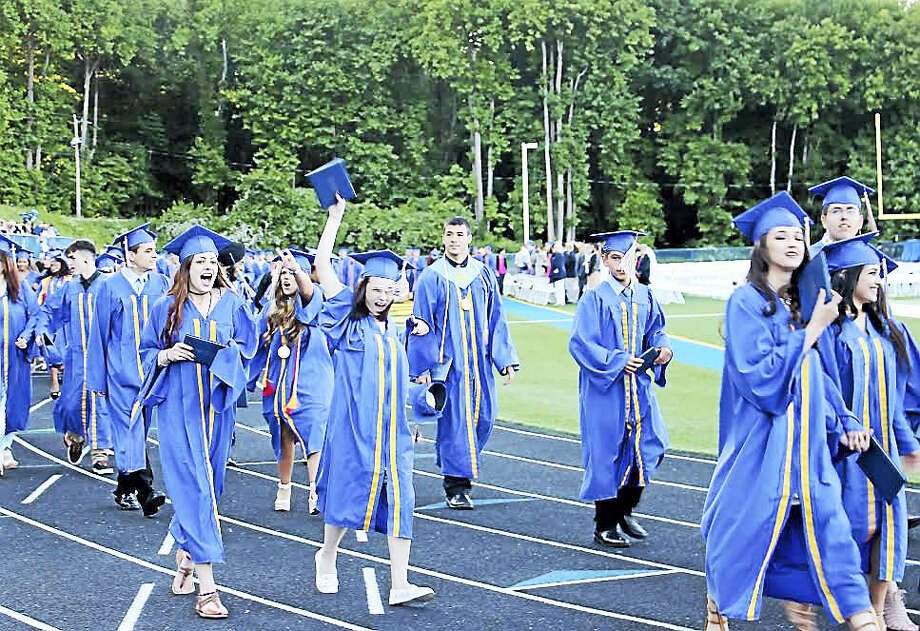 Seymour High School's class of 2016 celebrates commencement Thursday. Photo: Jean Falbo-Sosnovich — New Haven Register
