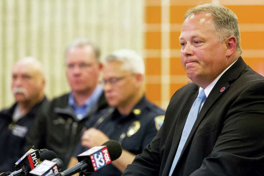 Kalamazoo Prosecuting Attorney Jeff Getting speaks with media about a fatal crash involving several bicyclists at the Kalamazoo Township Police Department in Kalamazoo Township, Mich., on Tuesday, June 7, 2016. Photo: Bryan Bennett — Kalamazoo Gazette-MLive Media Group Via AP / Kalamazoo Gazette-MLive Media Group