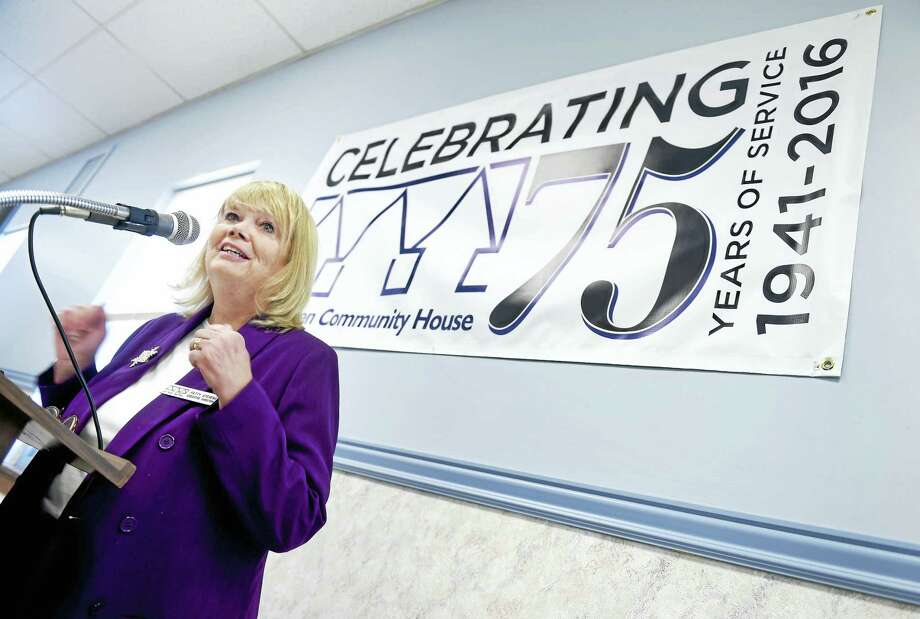 Patty Stevens, executive director of the West Haven Community House, speaks during a kickoff ceremony for the 75th anniversary of the social service agency in West Haven Monday. Photo: Arnold Gold — New Haven Register