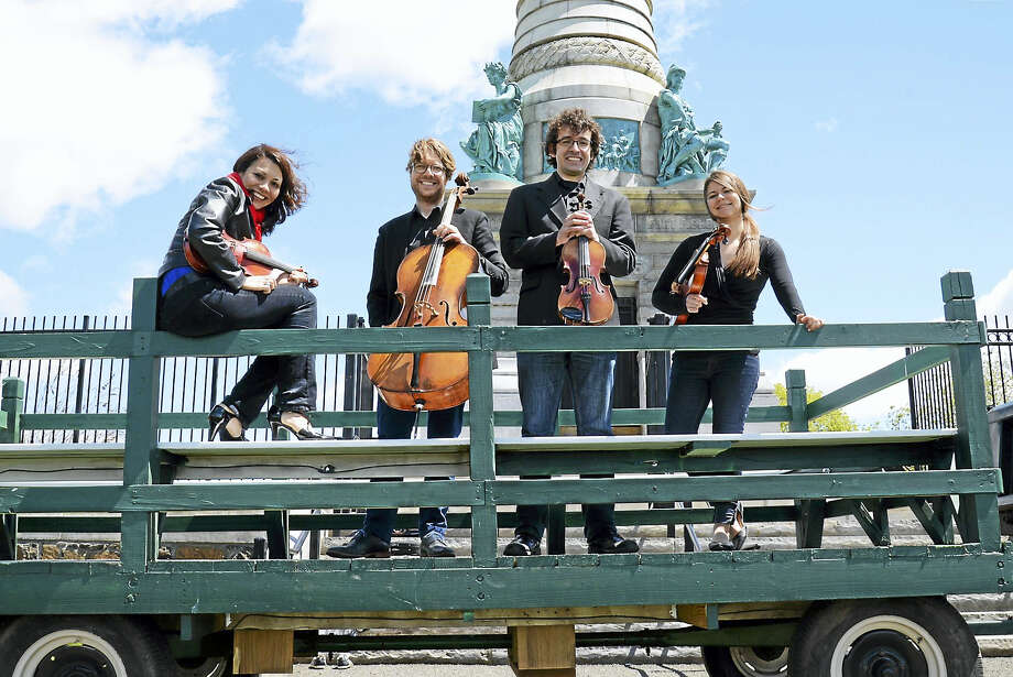 The Haven String Quartet, ready for traveling music. Photo: Kathleen Cei Photo