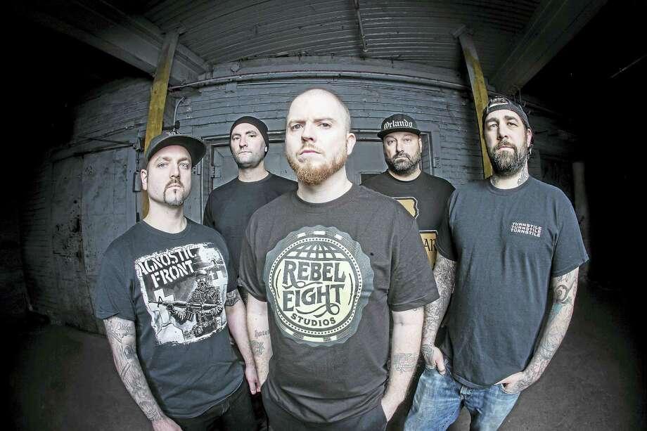 From left, Wayne Lozinak, Matt Byrne, Jamey Jasta, Frank Novinec and Chris Beattie of Hatebreed. Photo: Contributed