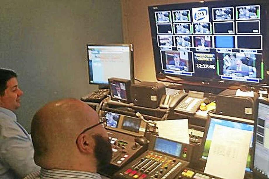 CT-N control room in the Legislative Office Building. Photo: STEVE MAJERUS-COLLUINS — CT NEWS JUNKIE