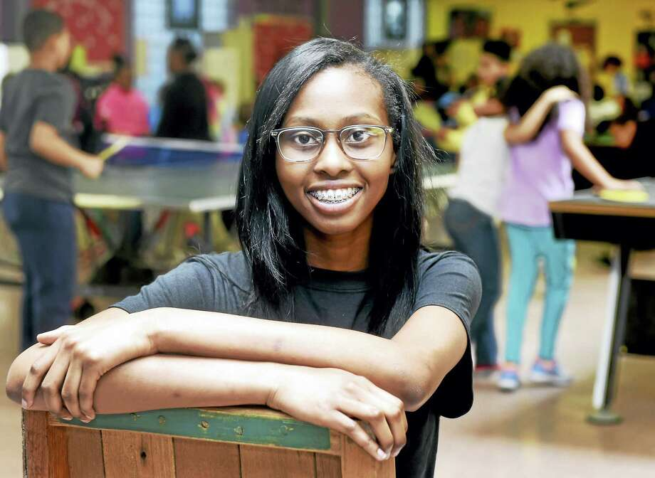 Sitting in the game room at the Boys and Girls Club of New Haven, Sound School junior Z'hane Ellison, 16, is the Boys & Girls Club of New Haven's 2016 Youth of the Year. Photo: Peter Hvizdak — New Haven Register   / ©2016 Peter Hvizdak
