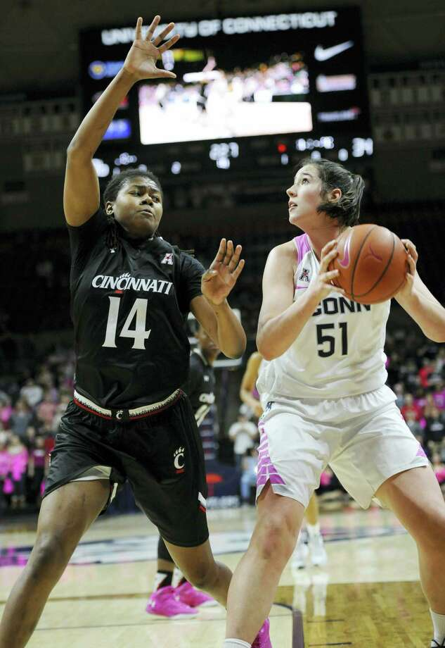 UConn's Natalie Butler finished with a double-double in her first start with the Huskies. Photo: Jessica Hill — The Associated Press   / AP2016