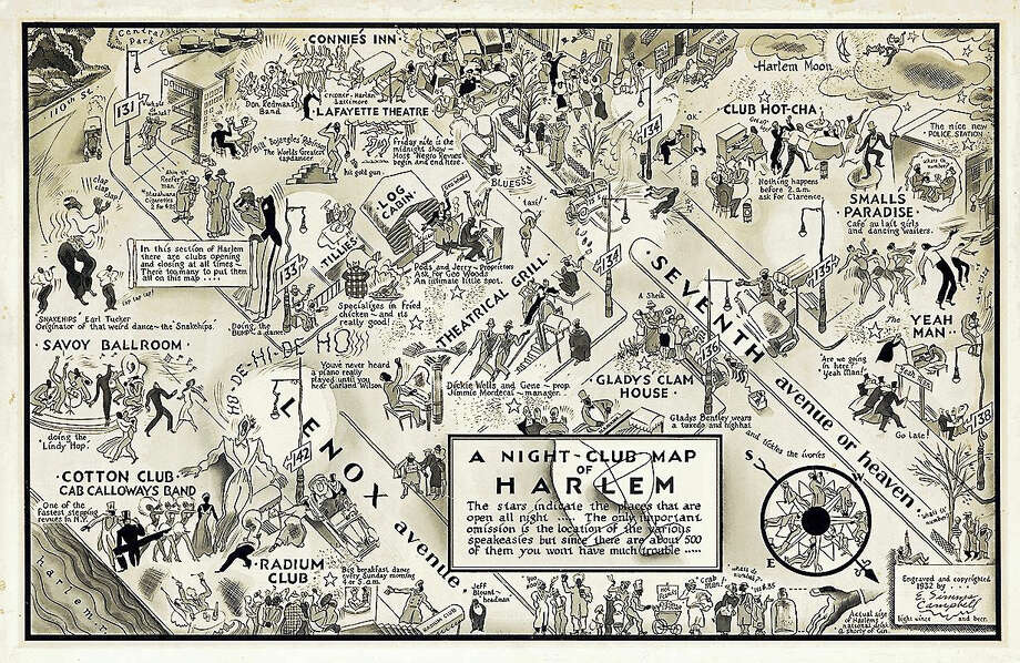 A 1932 illustrated map of Harlem Nightlife has been acquired by Yale's Beinecke Rare Book & Manuscript Library. Photo: COURTESY BEINECKE RARE BOOK & MANUSCRIPT LIBRARY