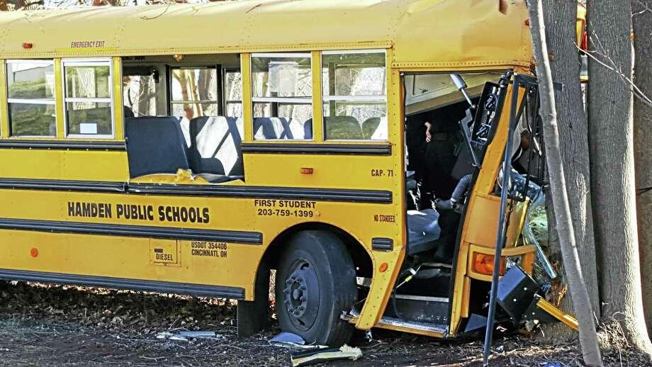 The scene of Wednesday's bus crash on Brook Street in Hamden. Photo: Shahid Abdul-Karim — New Haven Register