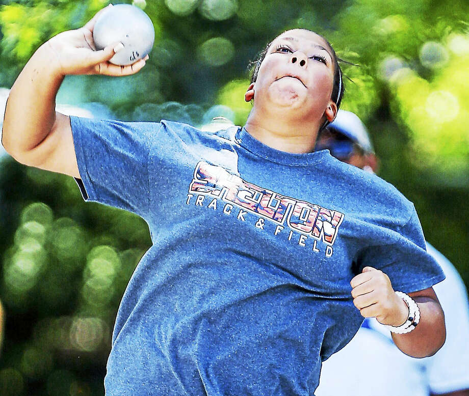 Shelton's Samantha Stevens Captured the CIAC State Open shot put title Monday with a throw of 42 feet, 7 inches to advance to the New England Regionals. Photo: John Vanacore — Register   / John H.Vanacore/Register