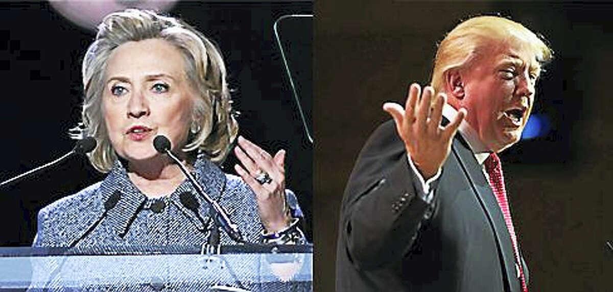 Former U.S. Secretary of State Hillary Clinton, left, and Republican Donald Trump.