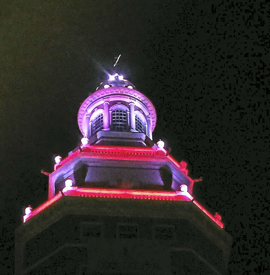 Cupola of The Union Residences building lit in red Photo: Courtesy Peter Schaller Of Greater New Haven United Way