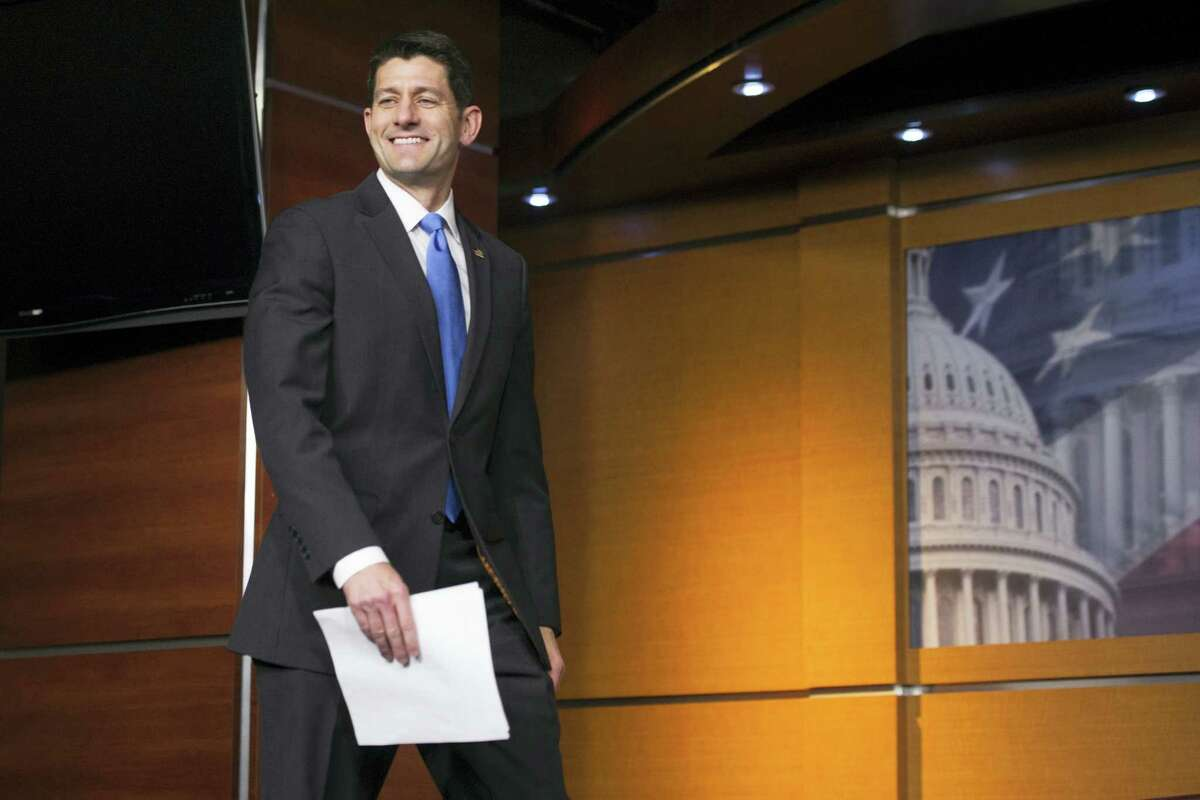 House Speaker Paul Ryan of Wis. arrives for a news conference on Capitol Hill in Washington Thursday following his meeting with Republican presidential candidate Donald Trump.