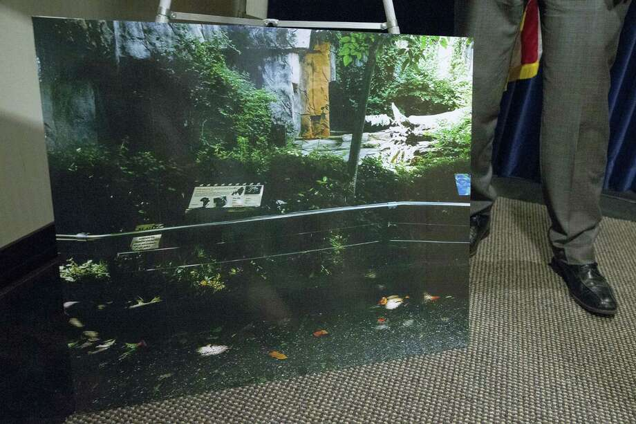 An image of the Cincinnati Zoo & Botanical Gardens' Gorilla World enclosure barrier is displayed after a news conference with Hamilton County prosecutor Joe Deters concerning an incident involving a child who was hurt after circumventing a barrier and fell into its moat, Monday, June 6, 2016, in Cincinnati. A gorilla named Harambe was killed by a special zoo response team on Saturday, May 28, after concluding the 3-year-old boy's life was in danger. Photo: AP Photo/John Minchillo    / AP