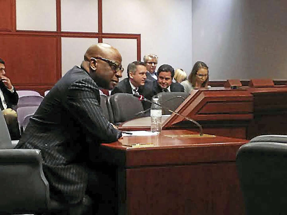 Erik Clemons, CEO and president of ConnCAT, in February as he answered questions from the Executive and Legislative Nominations Committee. Photo: Brian Zahn — New Haven Register