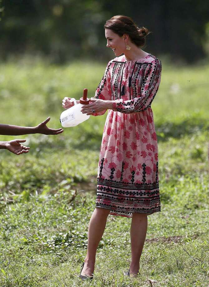 Britain's Kate, the Duchess of Cambridge, asks for more milk as she feeds baby elephants at the Centre for Wildlife Rehabilitation and Conservation (CWRC), at Panbari reserve forest in Kaziranga, in the north-eastern state of Assam, India, April 13, 2016. Prince William and his wife, Kate, planned their visit to Kaziranga specifically to focus global attention on conservation. The 480-square-kilometer (185-square-mile) grassland park is home to the world's largest population of rare, one-horned rhinos as well as other endangered species including swamp deer and the Hoolock gibbon. Photo: Adnan Abidi/ Pool Photo Via AP    / POOL REUTERS