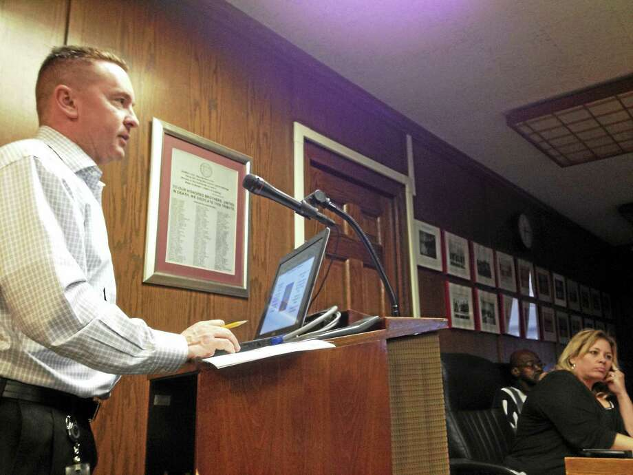 West Haven Director of Finance Kevin McNabola addresses the City Council after Mayor Ed O'Brien presented his recommended budget Wednesday night. Photo: MARK ZARETSKY — NEW HAVEN REGISTER