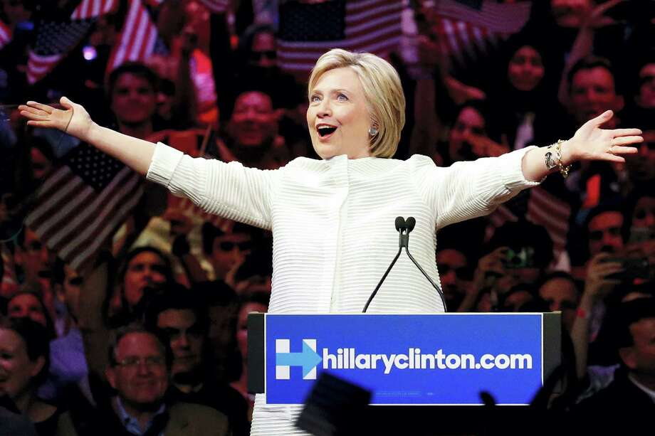Democratic presidential candidate Hillary Clinton gestures as she greets supporters at a presidential primary election night rally, Tuesday, June 7, 2016, in New York. Photo: AP Photo — Julio Cortez / Copyright 2016 The Associated Press. All rights reserved. This material may not be published, broadcast, rewritten or redistribu