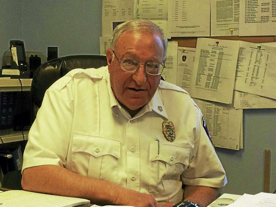 Allingtown Fire Chief Peter Massaro behind his desk at the City of West Haven Fire Department — Allingtown's Admiral Street headquarters. Photo: Mark Zaretsky — New Haven Register