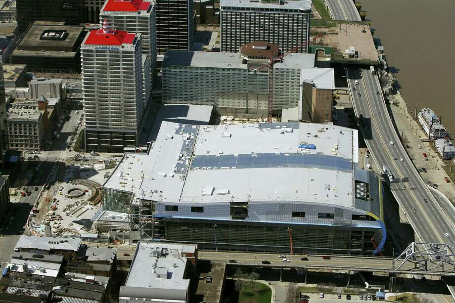 An aerial view of the Louisville basketball arena where the funeral for Muhammad Ali will take place on Friday. Photo: The Associated Press File Photo   / AP2010
