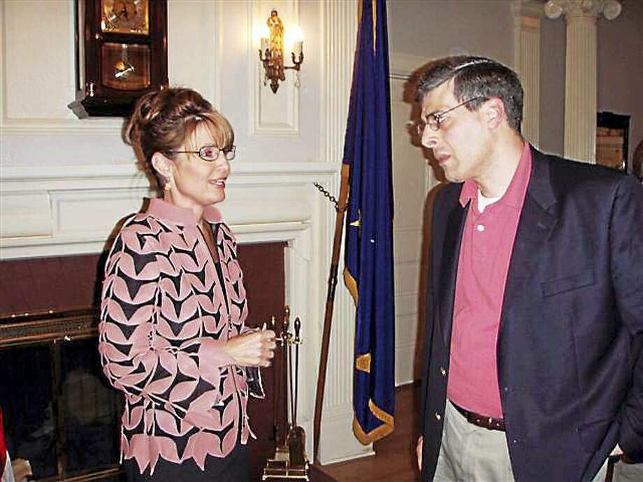CONTRIBUTED PHOTO  Jack Fowler with then-Alaska Gov. Sarah Palin, during a trip he made to that state in 2007. Palin backed Donald Trump this week. Photo: Journal Register Co.