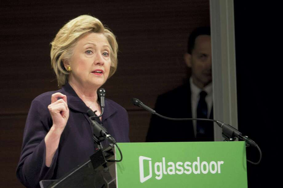 Democratic presidential candidate Hillary Clinton speaks during a Glassdoor Pay Equality Roundtable Tuesday in New York. Photo: The Associated Press   / AP