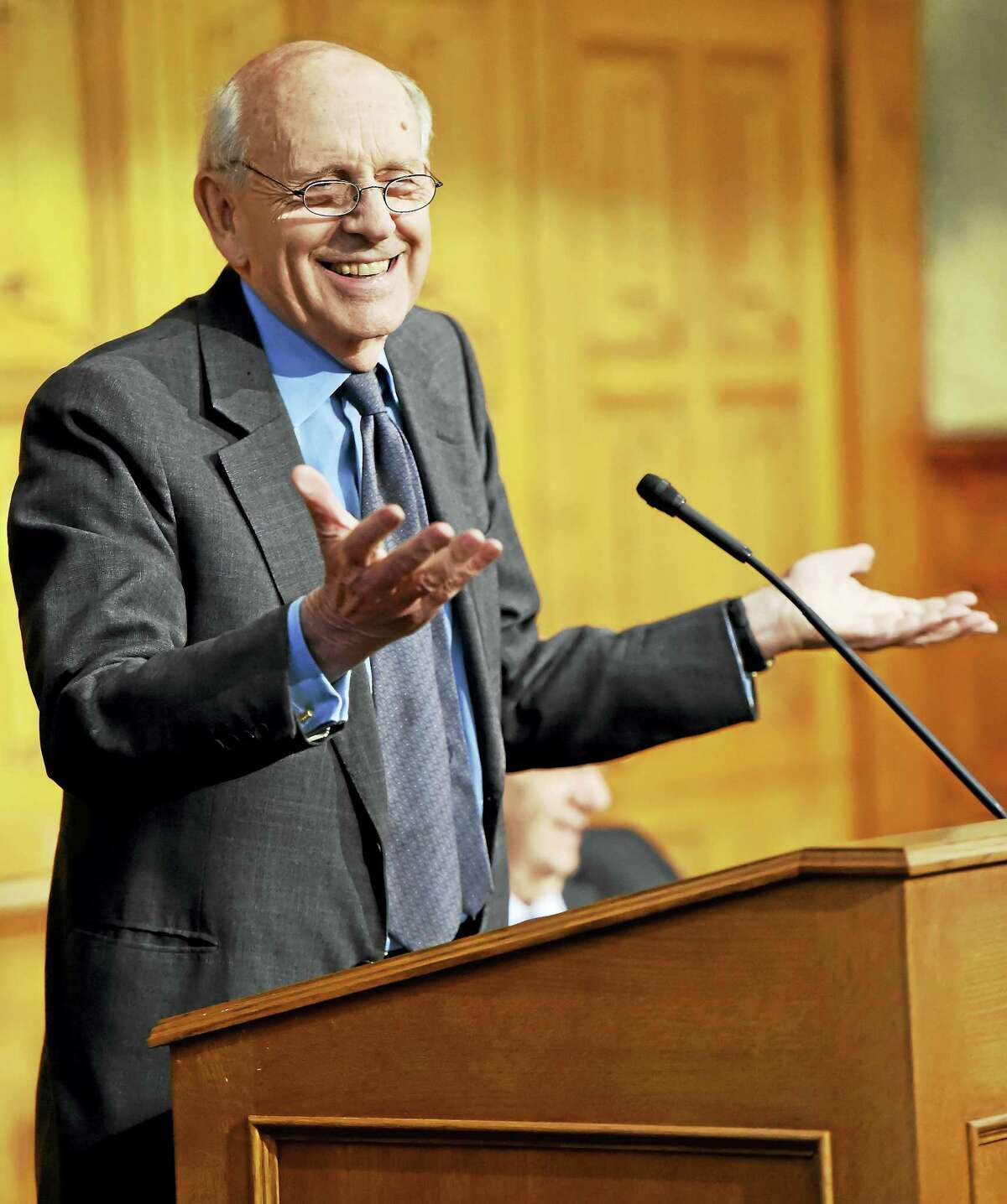 Supreme Court Justice Stephen Breyer gives a talk at Yale Law School in New Haven Wednesday.