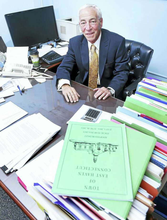 East Haven Finance Director Paul Rizza sitting in his office at East Haven Town Hall on Dec. 16, 2015. Photo: ARNOLD GOLD — NEW HAVEN REGISTER