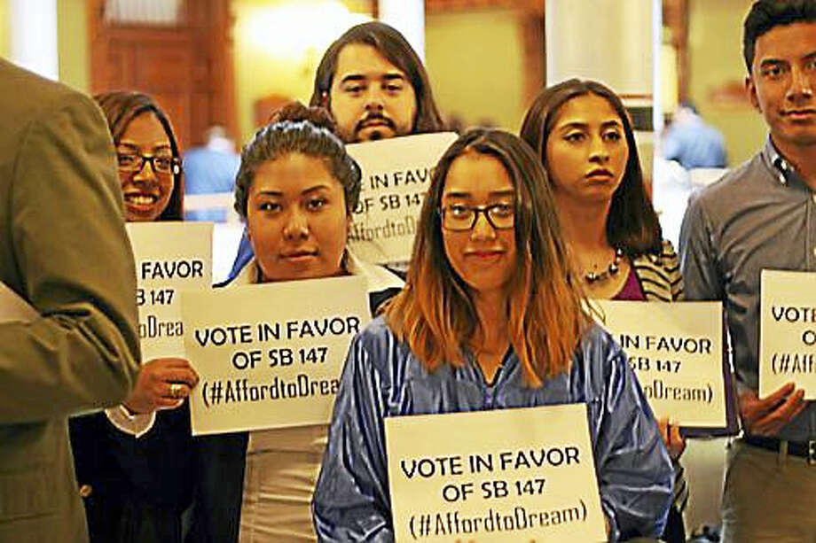 """""""DREAMers"""" rally outside the state House chamber. Photo: Jack Kramer — CT News Junkie"""