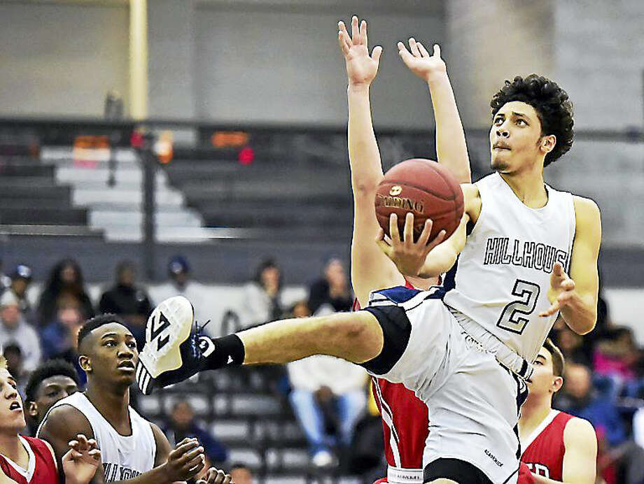 Joey Kasperzyk goes in for two points earlier this season against Fairfield Prep. Photo: Catherine Avalone — New Haven Register   / Catherine Avalone/New Haven Register