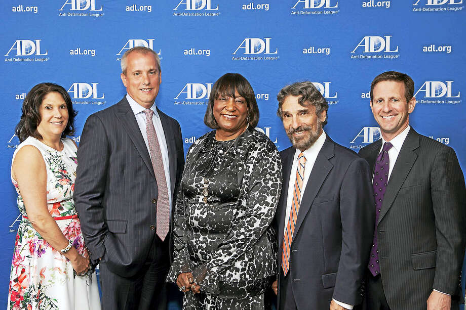From left, ADL Regional Board Chairwoman Robyn Teplitzky; John Emra, president of AT&T Connecticut; Dorsey Kendrick, president of Gateway Community College; Rabbi Herbert Brockman of Congregation Mishkan Israel; and ADL Connecticut Director Steve Ginsburg. Photo: CONTRIBUTED PHOTO — Harold Shapiro   / Copyright: Photo Credit Must Be Given