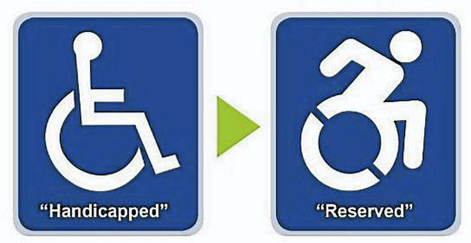 modernizing handicapped parking signs Photo: Journal Register Co.