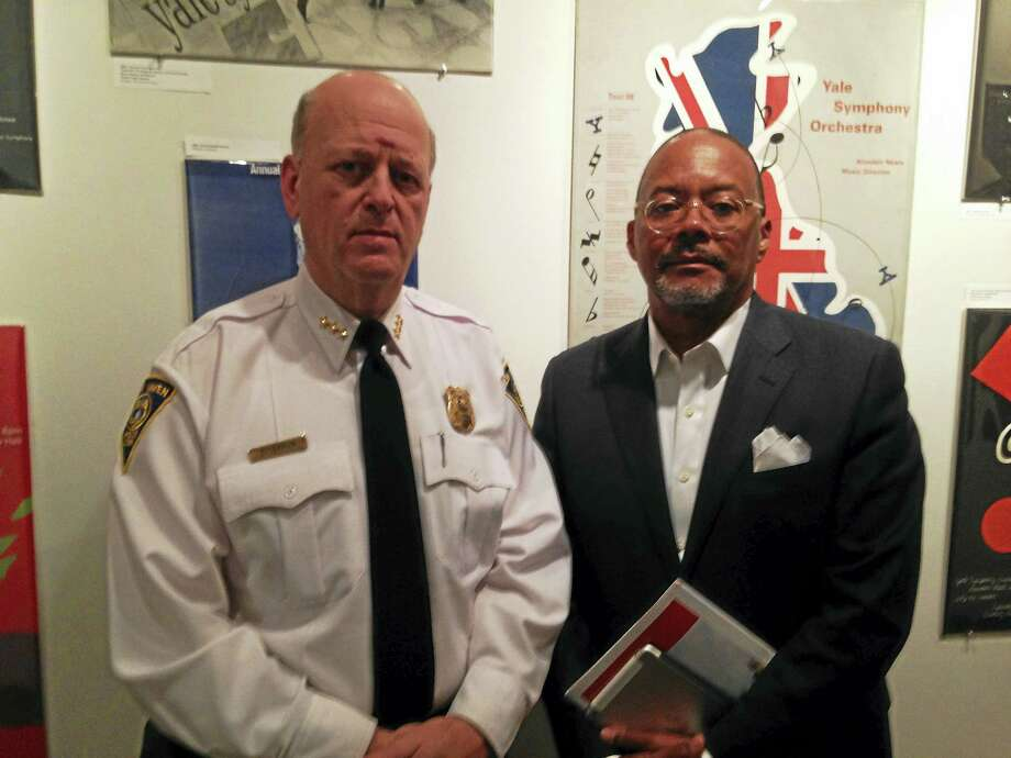 New Haven Police Chief Dean Esserman and ShotSpotter CEO Ralph Clark met at The Study at Yale for a three-day collaborative meeting on the acoustic gunfire technology. Photo: Ryan Flynn — New Haven Register
