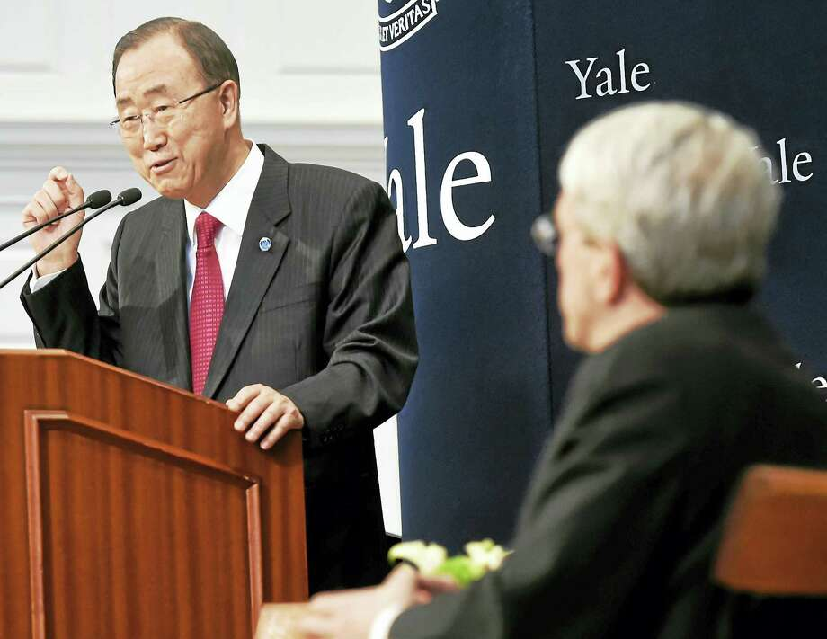 U.N. Secretary-General Ban Ki-moon of South Korea gives the keynote address at Yale University's Sprague Hall in New Haven Tuesday during the opening session of the eighth Global Colloquium of University Presidents. Photo: Peter Hvizdak — New Haven Register   / ?2016 Peter Hvizdak