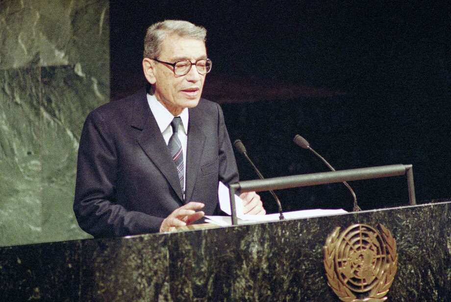 In this Tuesday, Dec. 31, 1991, file photo, Boutros Boutros-Ghali, then Deputy Foreign Minister of Egypt, addresses the United Nations General Assembly after being sworn in as the new U.S. Secretary-General in United Nations. The U.N. Security Council has announced on Tuesday, Feb.  16, 2016, the death of former U.N. Secretary-General Boutros Boutros-Ghali. Photo: AP Photo/Marty Lederhandler, File   / AP