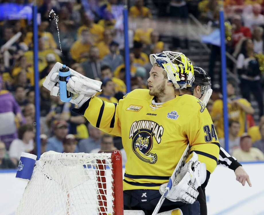 Quinnipiac goalie Michael Garteig is still coming to grips with his remarkable collegiate career coming to an end. But NHL teams have already started to approach his advisor. Photo: Chris O'Meara — The Associated Press   / AP