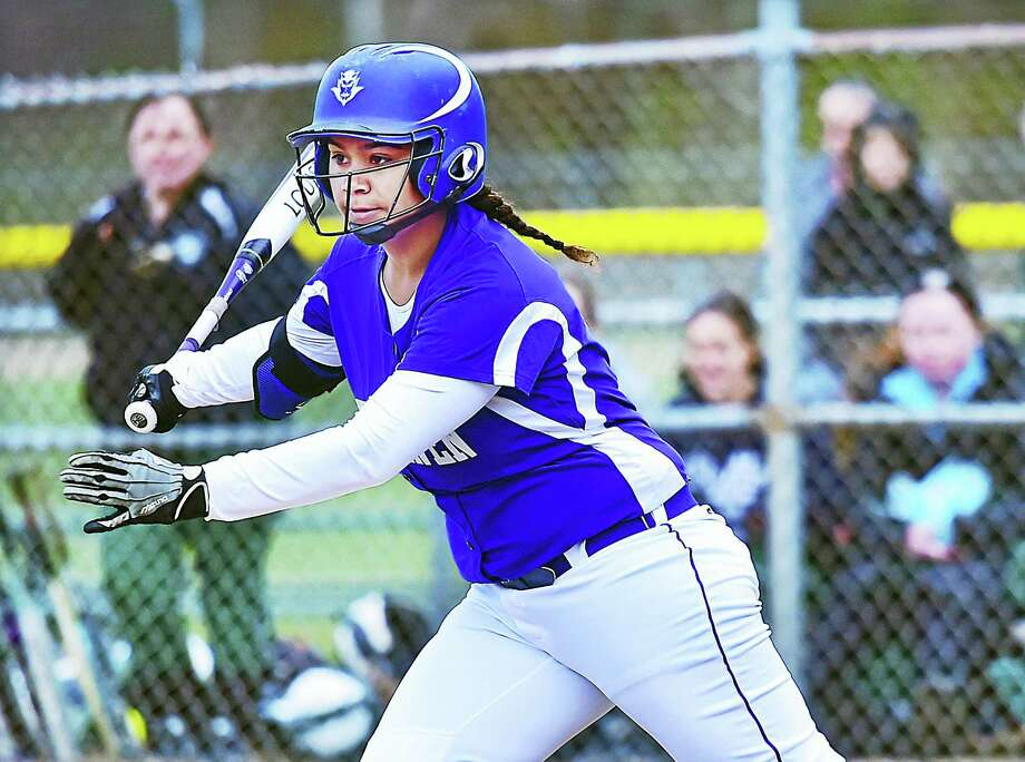 West Haven third baseman Madison Watts takes a swing against Guilford. West Haven won 6-5. Photo: Catherine Avalone — The New Haven Register   / New Haven RegisterThe Middletown Press