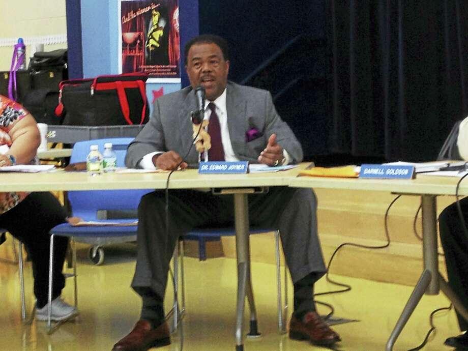 BRIAN ZAHN — NEW HAVEN REGISTER  New Haven Board of Education member Edward Joyner Monday night. Photo: Journal Register Co.