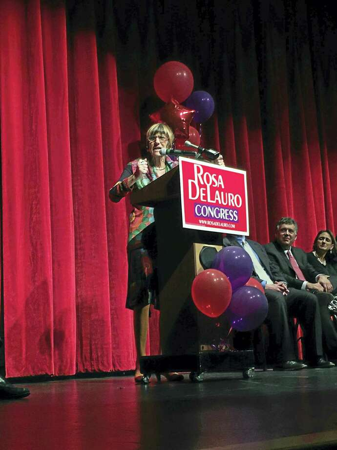 U.S. Rep. Rosa Delauro speaks Monday. Photo: MARY E. O'LEARY — NEW HAVEN REGISTER