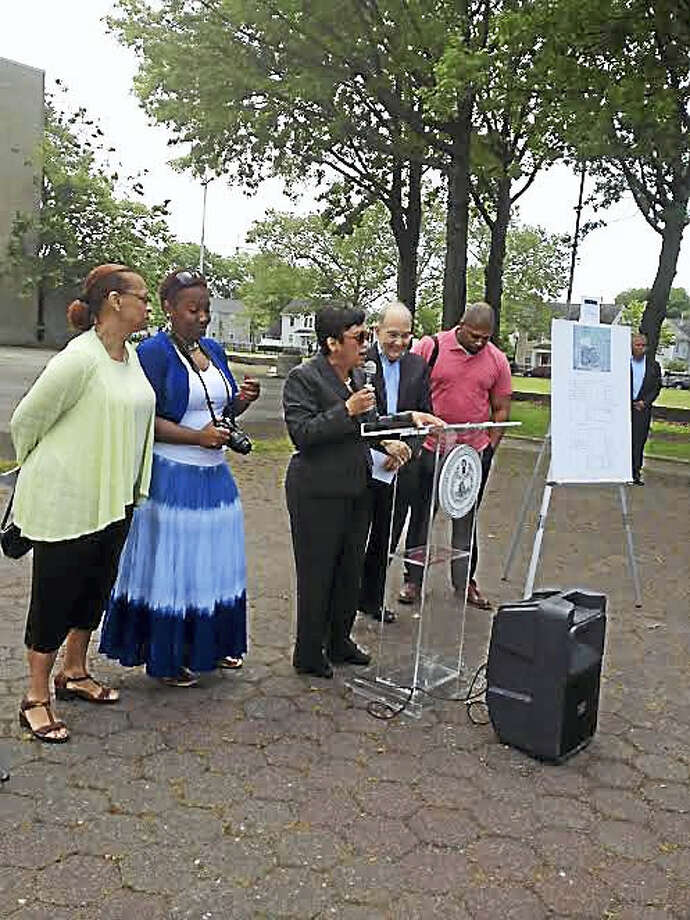 Officials who helped get funds for new Q House gathered at the site Saturday, June 4, 2016 for a pre-demolition ceremony. From left is state Rep. Toni Walker, state Rep. Robyn Porter, New Haven Mayor Toni Harp, state Senate Pro Tem Martin Looney and state Sen. Gary Winfield. Photo: Mary O'Leary — New Haven Register