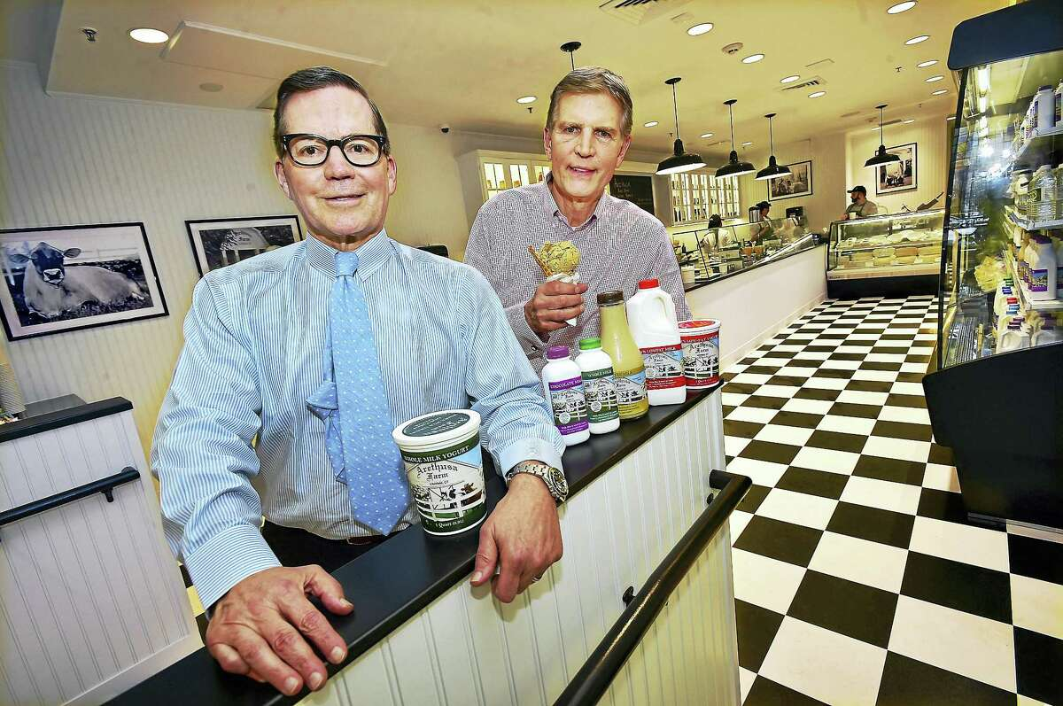 Catherine Avalone — New Haven Register George Malkemus and Tony Yurgaitis, co-owners of Arethusa Farm Dairy at 1020 Chapel Street in New Haven held a soft opening Thursday, March 10, 2016. Malkemus and Yurgaitis are selling milk, cheese, cream, butter and ice cream made at their farm in Bantam, Conn.