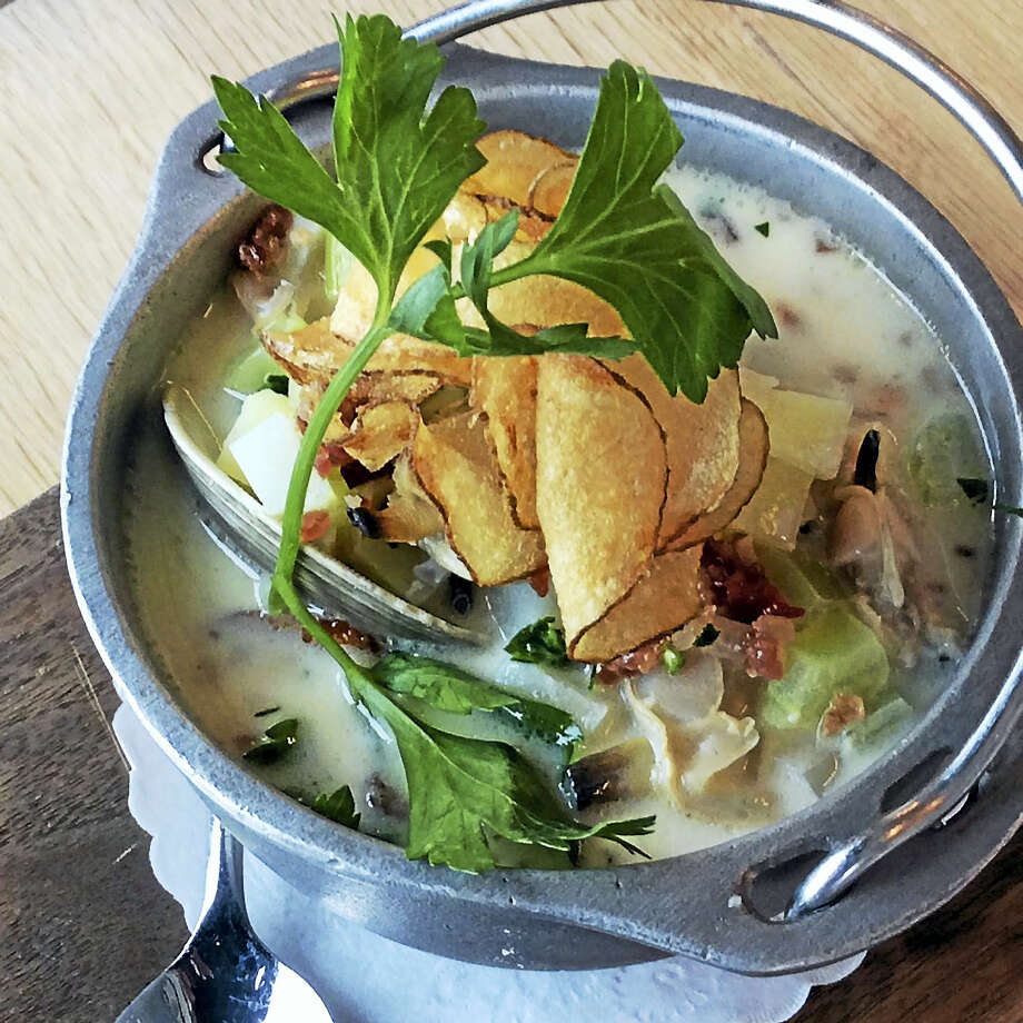 As good as it is freshly made, Chef Franco-Camacho says the clam chowder is even better the next day, when the bacon's smoky flavor has had a chance to infuse the cream. Photo: Stephen Fries