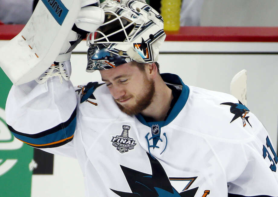 San Jose Sharks goalie Martin Jones skates back to the net after a timeout during Game 2 on Wednesday. Photo: Gene J. Puskar — The Associated Press   / Copyright 2016 The Associated Press. All rights reserved. This material may not be published, broadcast, rewritten or redistribu
