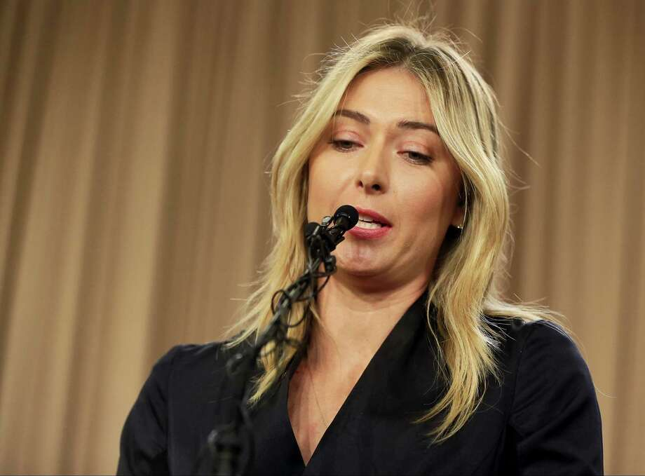Maria Sharapova speaks during a news conference in Los Angeles earlier this week. Photo: Damian Dovarganes — The Associated Press   / Damian Dovarganes