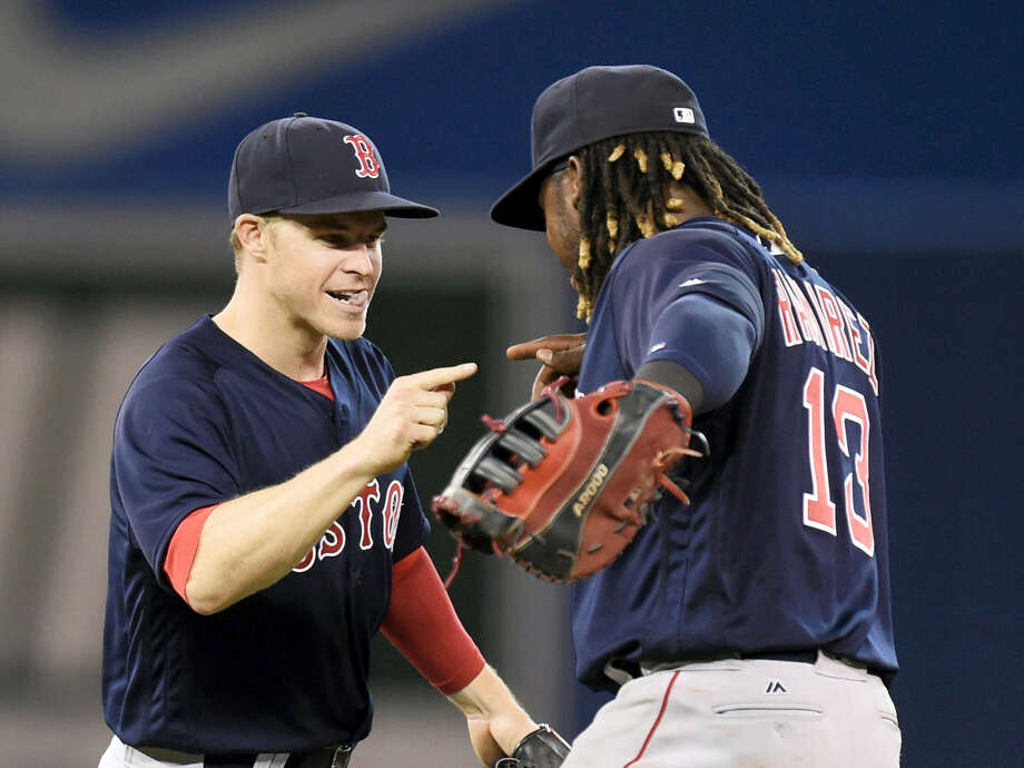 Red Sox left fielder Brock Holt, left, celebrates with Hanley Ramirez after beating the Blue Jays on Friday. Photo: Frank Gunn — The Canadian Press Via AP   / The Canadian Press