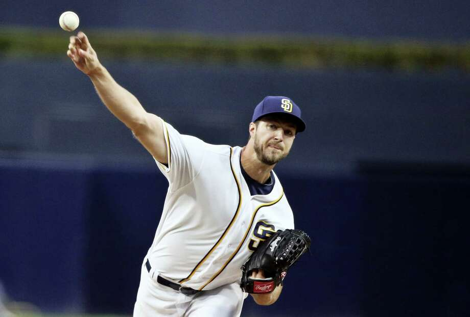 San Diego Padres starter Colin Rea works against the New York Mets in the first inning of a baseball game Thursday, May 5, 2016, in San Diego. (AP Photo/Lenny Ignelzi) Photo: AP / Copyright 2016 The Associated Press. All rights reserved. This material may not be published, broadcast, rewritten or redistribu