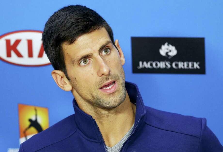 Novak Djokovic speaks during a press conference in Melbourne, Australia on Sunday. Photo: The Associated Press   / AP