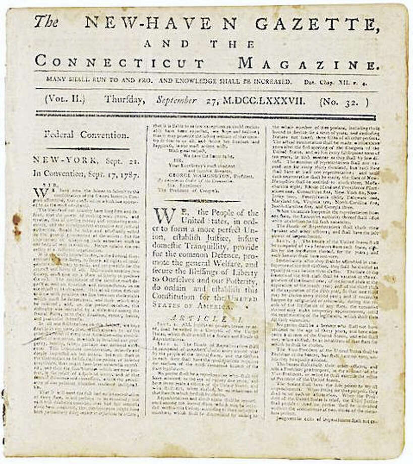 The first printing of the U.S. Constitution in Connecticut in the New-Haven Gazette and the Connecticut Magazine, Sept. 27, 1787. Photo: COURTESY OF BONHAMS