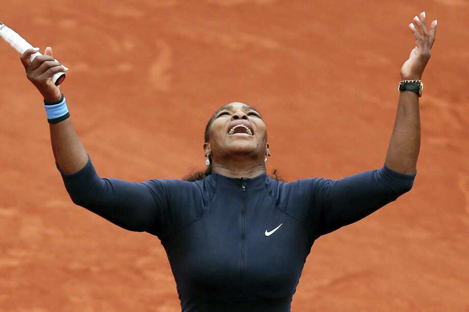 Serena Williams celebrates scoring a point in her quarterfinal match against Yulia Putintseva at the French Open on Thursday. Photo: The Associated Press   / AP