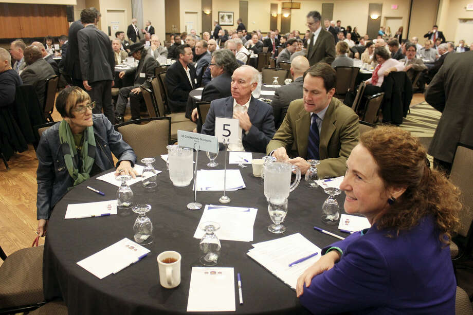 Left to right, Rosa DeLauro, Joe Courtney, Jim Himes and Elizabeth Esty at Friday morning's breakfast. A large group of transportation advocates held the event to recognize members of the Connecticut Congressional Delegation for their support and leadership on transportation issues in Congress. Photo: Kate Ramunni — New Haven Register